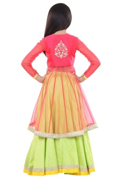 Embroidered yoke jacket kurta with lehenga