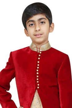 Bandhgala jacket with kurta and churidar