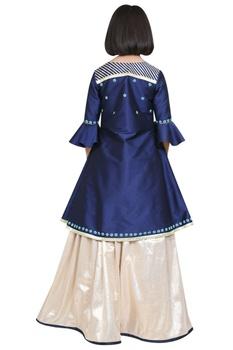 Embroidered jacket kurta with lehenga