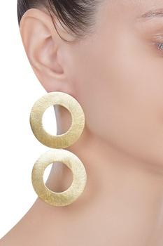 Double disc metal earrings