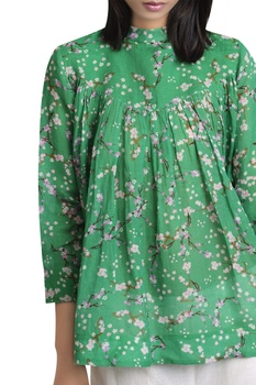 Floral print shirt with gather detail