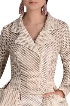 Eye mesh skirt with blazer