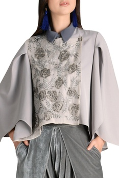 Fine bead embroidered top