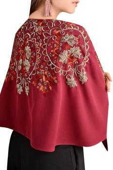 Crepe bugle bead embroidered cape