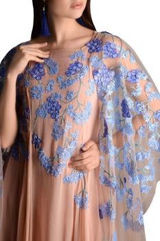 Floral embroidered kaftan dress