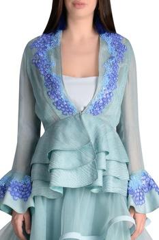 Multi layered lehenga with embroidered jacket blouse