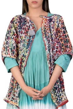 Hand knotted cape with shoulder sleeves