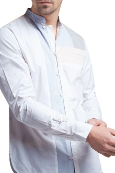 Button down shirt with hand embroidered sleeves