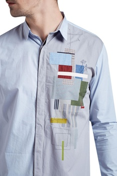 Printed shirt with hand embroidery