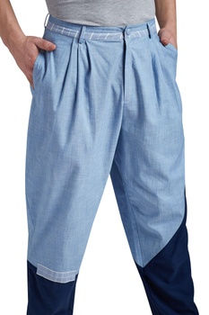 Color block box pleated casual pants