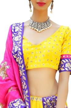 Emboridered blouse with lehenga and dupatta