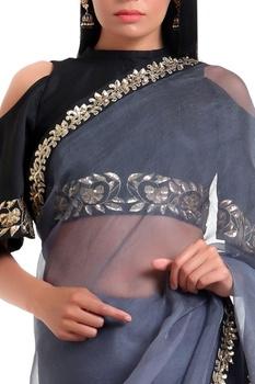 Organza silk sari with cold-shoulder blouse