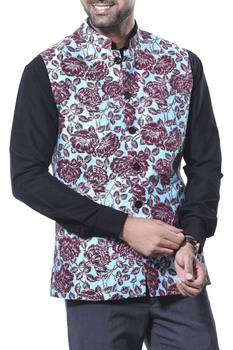 Flower print nehru jacket