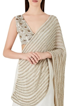 Mermaid fit lehenga sari with v-neck blouse
