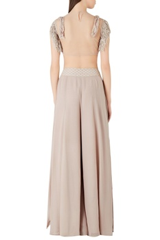 Fringe & pearl embroidered crop top with layered palazzos