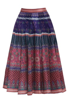 Panel style floral printed midi skirt
