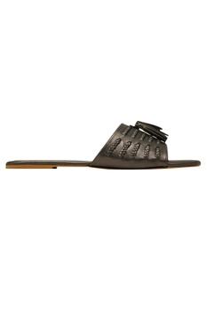 Wide strap leatherette flat sandals
