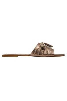 Tassel detail leatherette flat sandals