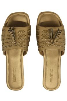 Leatherette matte finish slip-on sandals
