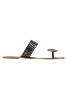 Leatherette slip-on sandals