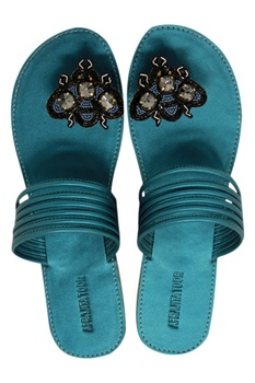 Hand embroidered leatherette flat sandals