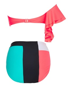 Bandeau top with color block bikini bottom