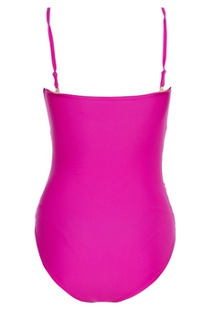 Ruched tube swimsuit with detachable straps