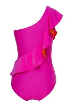 Ruffled one shoulder monokini