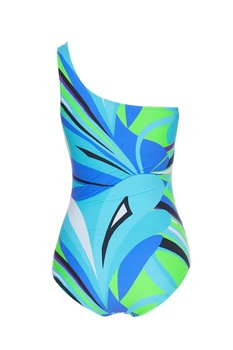 Front knot printed one shoulder swimsuit
