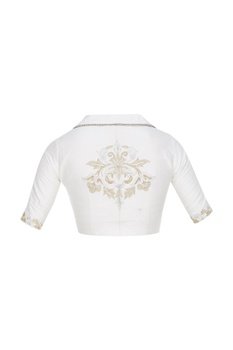 Embroidered saree blouse with collar