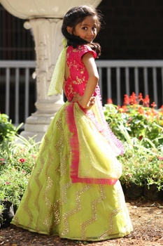 Embroidered blouse with lehenga and dupatta.