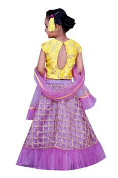 Embroidered crop top with lehenga and dupatta