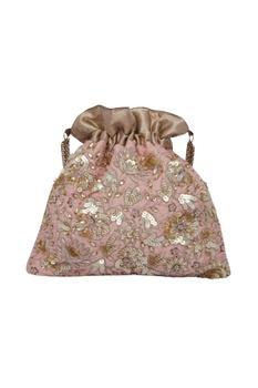 Zardosi embroidered peach potli bag