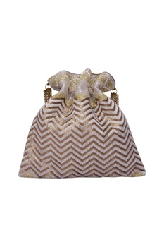 Electric silver gold embroidered potli bag