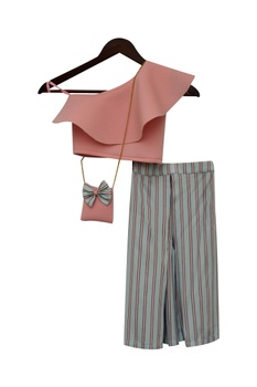 Stripe palazzo pants with crop top