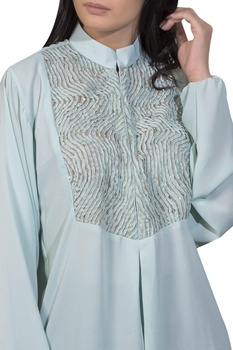 Embroidered yoke top with box pleats