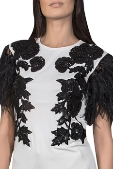 Patchwork top with feather sleeves