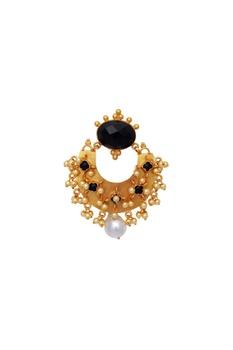 Black stones statement earrings