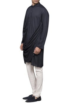 Draped kurta with button placket