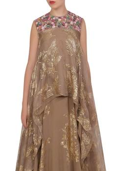 Organza asymmetric tunic with crepe silk foil printed lehenga