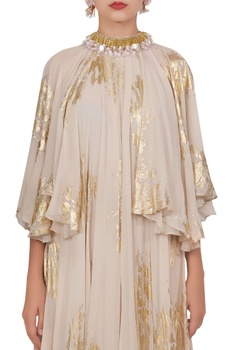Crepe silk ruffle cape style dress