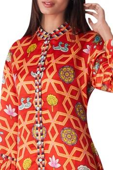 Jaal print kurta with frill detail
