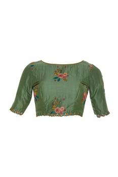 Thread embroidered sari blouse