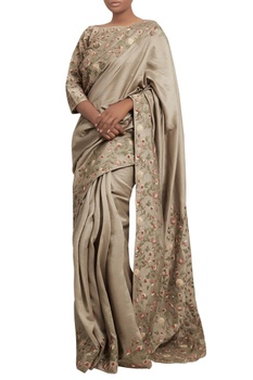 Jaal border embroidered sari with blouse