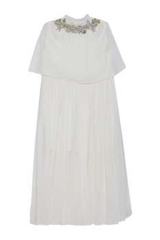 Embroidered flare cape dress