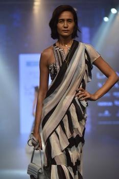 Striped ruffle sari & embroidered blouse