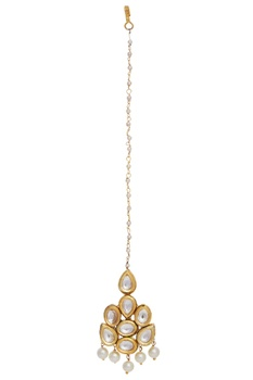 Gold plated maangtikka with kundan work
