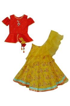 Peplum blouse with skirt & dupatta