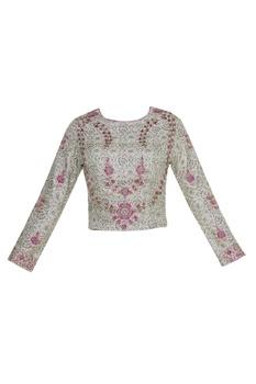 Dupion silk jacquard sequin sari blouse