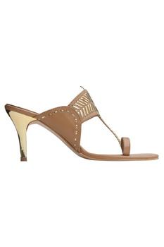 Perforated pencil heel sandals